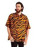 (ヴェルサーチェ ジーンズクチュール) VERSACE JEANS COUTURE 綿100% タイガー&ロゴプリント ポケット 半袖 ビッグシルエット シャツ [VCB1GVB607SN200]オレンジ / 48 [並行輸入品]