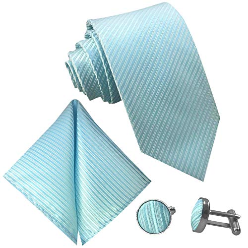GASSANI 3-SET Türkise Krawatte Streifen gestreift | Binder Türkis-Blau Manschettenknöpfe...