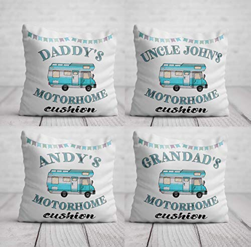 Motorhome Cushion - Personalised Motor Home Birthday Gift for Men - Blue Motorhome Pillow - Home Decor for Campervan Camping Trailer 40 x 40cm / 16 x 16in