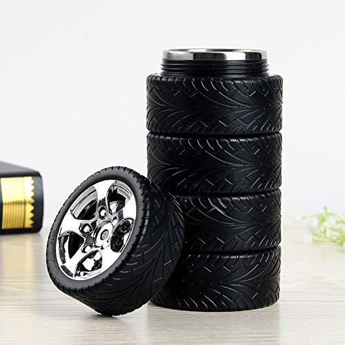 Botella de agua de neumáticos, taza de café de acero inoxidable, regalo para los amantes del coche, 11 oz, negro y plateado