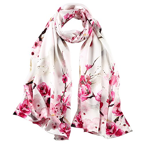 STORY OF SHANGHAI Womens 100% Mulberry Silk Head Scarf For Hair Ladies Floral Satin Scarf Gift for Valentine's Day,Rose Red,One Size