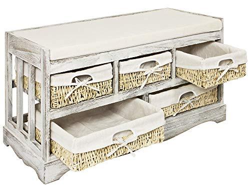 Kingpower Vintage Sitzbank Kommode Flurbank Truhe Shabby Chic Weiß Sitzkommode