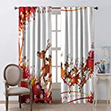 Santa Fabric Window Curtain Christmas Decoration Abstract Frame with Xmas Balls and Snowflakes Flying Reindeer Carriage Pale Brown Red White W55 xL63