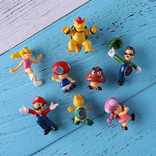 fxwl Magneti per Frigorifero 8 Pezzi 3D Super Mario Bros. Magneti per Il Frigo Adesivi per Messaggi del Frigorifero Home Decora Giocattoli per Bambini Regalo di Compleanno