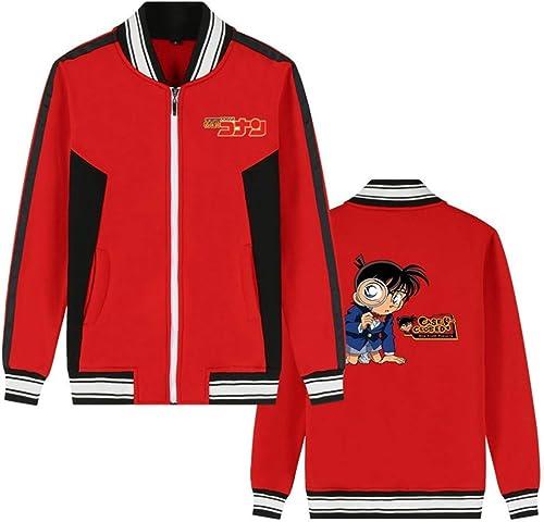 Détective Conan Anime Bomber Veste Collège Baseball Vestes Cosplay Costume Fermeture à Glissière Sweat Manteau voituredigan (Couleur   rouge 7, Taille   3XL)