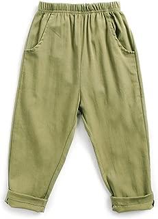 PAUBOLI Boys Khaki Pants Flat Front Elastic Waist Pants 1-6T