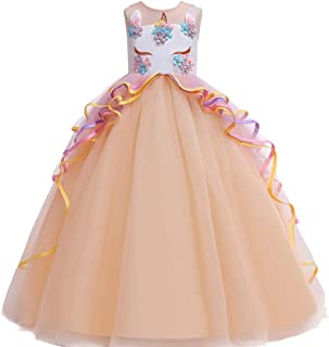 BestGift Kids Dresses For Girls Unicorn Party Princess Dress Child Carnival Costume Flower Girls Wedding Dress Teenage fantasia infantile Pink Colour