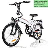 Angotrade 20 inch Folding Electric Bike 21 Speed 36V 8A Lithium Battery Mountain Electric Bicycle for Adult (White)