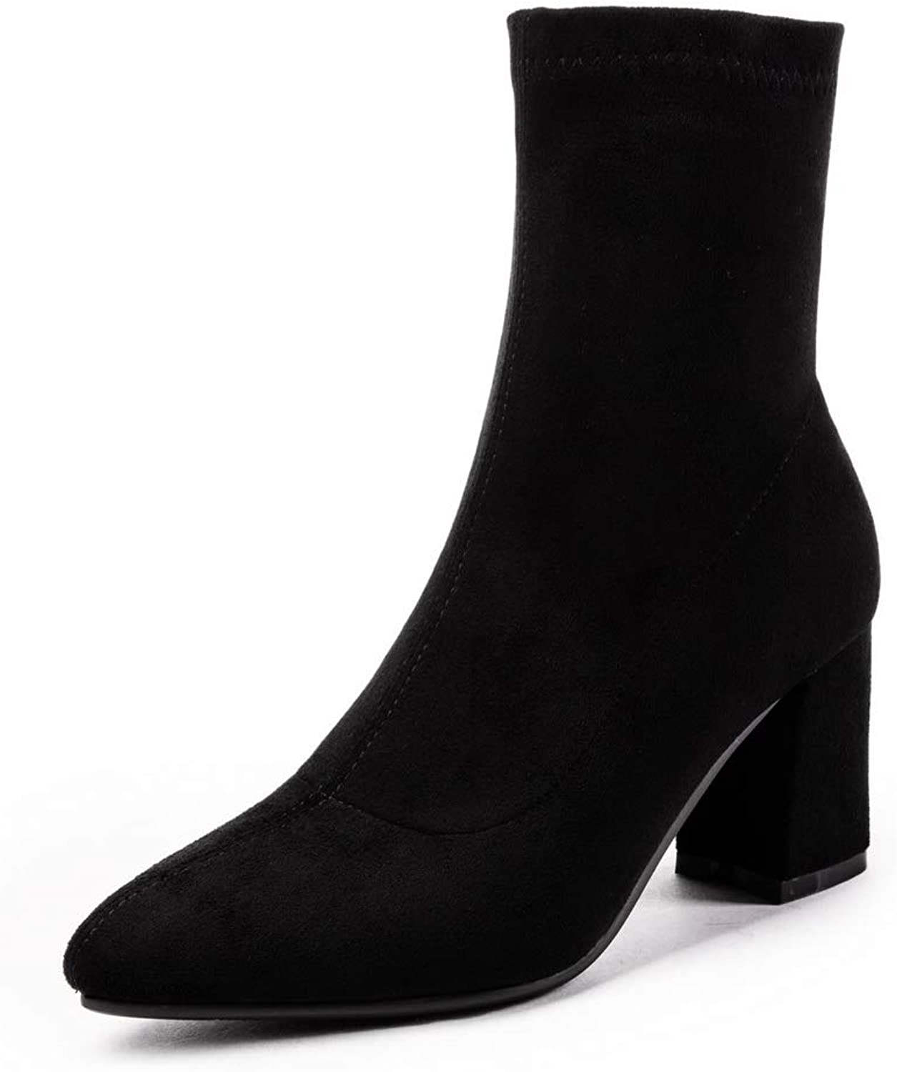 AN Womens Chunky Heels Pointed-Toe Imitated Suede Boots DKU02493