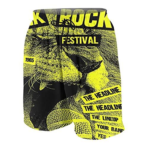 Hombres Personalizado Trajes de Baño,Plantilla de póster de Volante de Punk Rock,Casual Ropa de Playa Pantalones Cortos