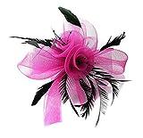 Mariposa de plumas de color negro boda tocado en peine gorro de Ascot accesorios para el pelo (fucsia rosa)