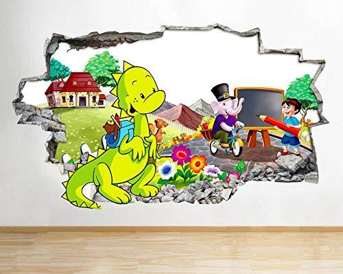 Pegatinas de pared Escuela pizarra dinosaurio roto pared calcomanía 3D arte pegatinas vinilo habitación