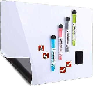 Tableau blanc magnétique effaçable à sec pour réfrigérateur – Comprend 4 marqueurs et 4 icônes magnétiques et une gomme – ...