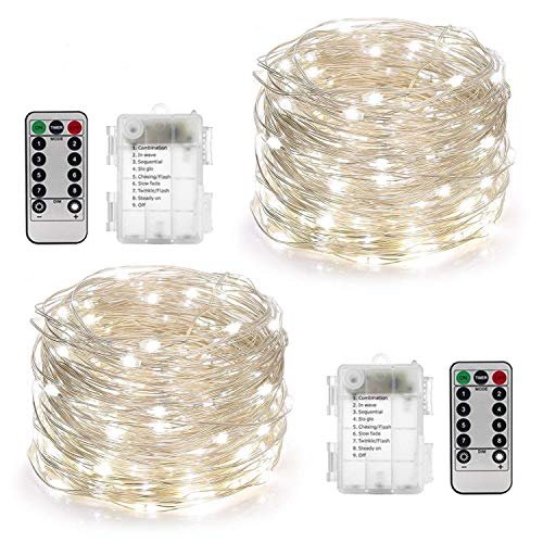 YIHONG 2 Set Battery Fairy Lights 10m 100 LED 8 Modes Battery Powered Fairy Lights with Remote&Timer LED String Lights Firefly Lights for Garden Wedding Party Christmas Indoor/Outdoor Decoration-White