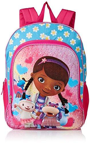 Disney Girls' Doc McStuffins Backpack, Light Blue/Pink, 16' X 12' X 5'