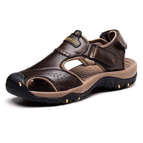 YANGFAN Zapatos de Cuero, Zapatos Casuales, Trabajo, al ai Sandalias de los Hombres, ventiladas a Medida, porosas, Altas y Cuero. Playa Suave Suela (Color : Black, Size : 10MUS)