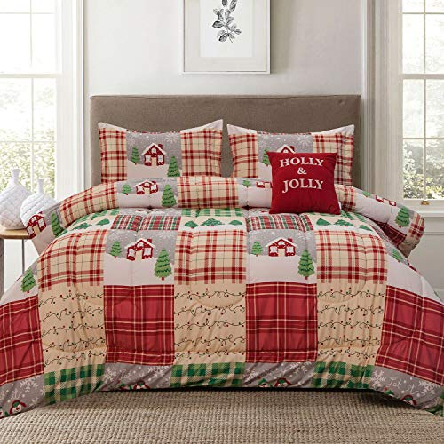 Holly Jolly Holiday Patchwork Plaid Snowflake Full/Queen 4-Piece Comforter Bedding Set with Shams and Decorative Throw Pillow, Red Tan Green