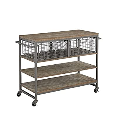 Home Styles Barnside Metro Contemporary Mixed Media, Metal and Wood Kitchen Cart with Heavy-duty Casters from Home Styles