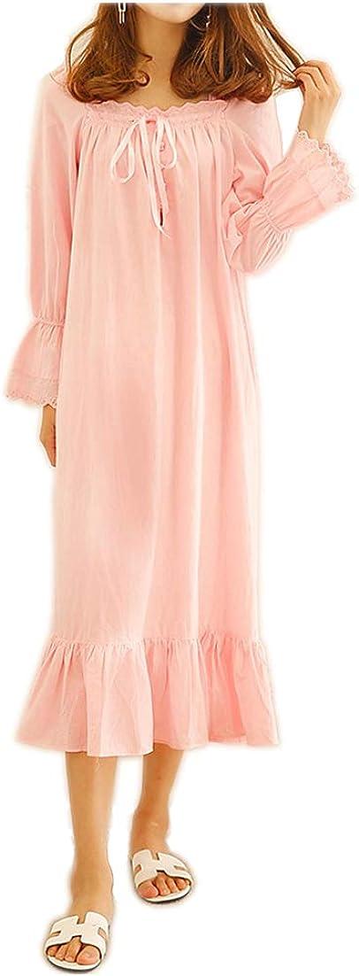 Women's 100% Cotton Vintage Retro Sale Style Nightgown Fashionable Victorian