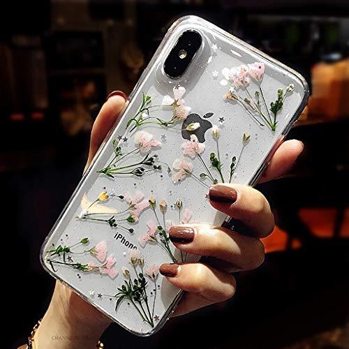 Bakicey iPhone XS Hülle, iPhone X Handyhülle Getrocknete Blumen Case Kristall Gel Schutzhülle Handgefertigt Immerwährende Blume Bumper Cover Schale Schutzhülle für iPhone XS/iPhone X Daffodil