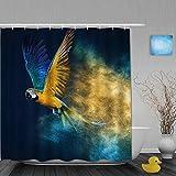 Ngkaglriap Cortina de Baño,Amantes de los Animales Blue Feather Parrot Dreamy Falling Powder,Cortinas de Ducha con 12 Ganchos de plástico 180 * 180cm