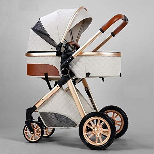 LOXZJYG Cochecito de bebé de Amortiguador Plegable, Cochecito de sillas 3 en 1, Cochecito liviano con Bolsa de mamá y Cubierta de Intemperie, mosquitera (Color : Creamy-White, tamaño : A)