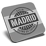 Gran posavasos cuadrado BW - Madrid España Reino de España Travel   Posavasos de calidad brillante   Protección de mesa para cualquier tipo de mesa #40499