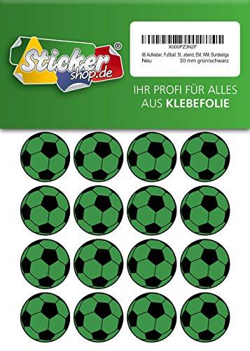 66 Aufkleber, Fußball, Sticker, 30 mm, grün/schwarz, aus PVC, Folie, bedruckt, selbstklebend, EM, WM, Bundesliga