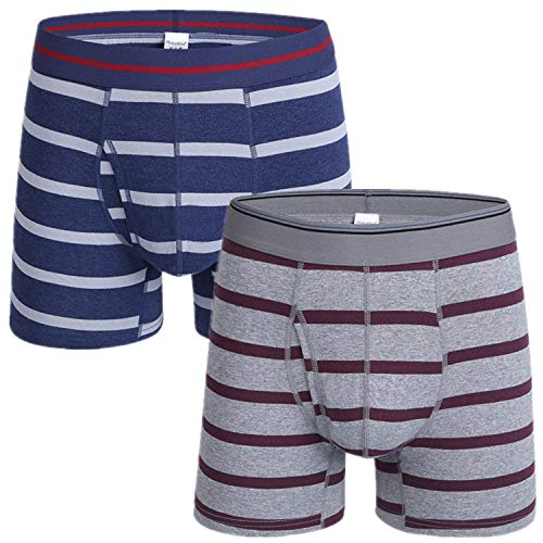 Targogo 2 Pack mannen Stripe Basic Boxer Briefs Boxer kleding Shorts Lange Been Katoen Onderbroek Trunk Onder Warm Shaer Locker Zachte Comfort Onderbroek Open Fly Retro slipje