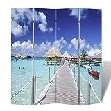 Festnight Biombo de Impresion de Playa Ideal para la Decoración 160 x 180 cm