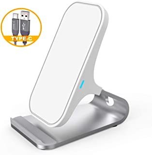 Wireless Charger Stand, Aluminum Fast Wireless Charging Stand Dock Compatible iPhone 11/XR/XS/X/8/8 Plus, Samsung Galaxy S10/S9/S8/Note 9 and All Qi-Enabled Smartphones (White)