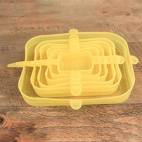 xingyu 6 tapas elásticas de silicona, tapa universal, tapa de silicona, tapa de silicona, para cocina, alimentos, para microondas, apto para platos, cuencos (color amarillo)