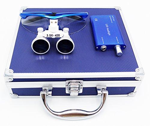 3.5倍拡大鏡+LED ライト 青ルーペ メガネ式ルーペ 双眼ルーペ ポータブル拡大鏡()