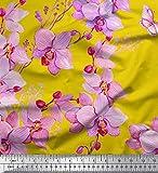 Soimoi Gelb Seide Stoff Vogel & Orchideen Blume Drucken