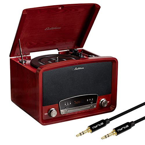 Electrohome Kingston 7-in-1 Vintage Vinyl Record Player...