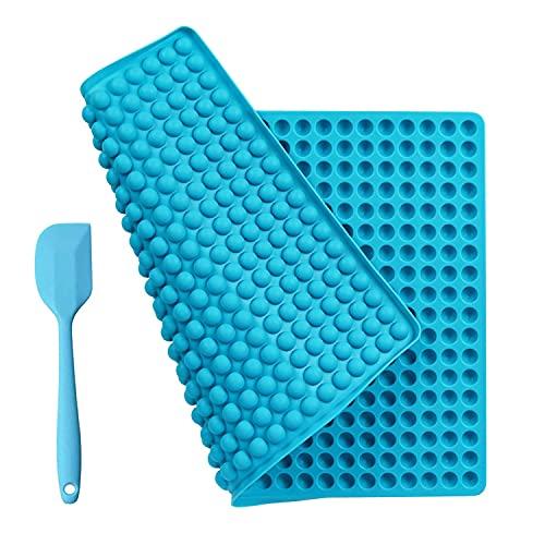 Tappetino Silicone Forno Stampi Silicone 468 Cavità, Stampo Silicone con un Raschietto Spatola di Plastica, Grande Stuoia del Silicone Riutilizzabile Antiaderente, Stampi Cioccolato Dolci (Blu)