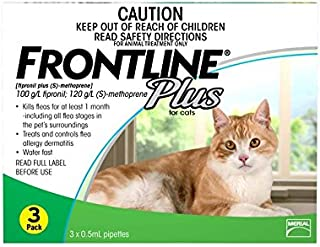 Frontline Plus Flea Treatment Pipettes for Cat 6 Pieces, 6 Count, Green