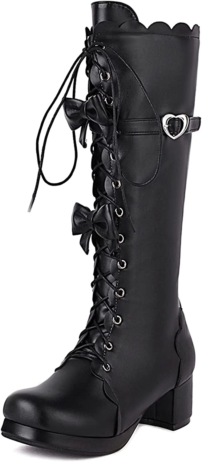 SaraIris Women's Knee High Boots Sweet Lolita Shoes Round Toe Chunky Heel Lace-up Boots Cute Heart Bows Party Cosplay Lolita Boots