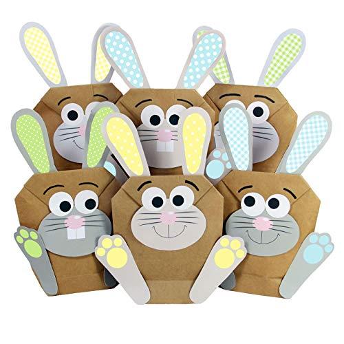 Papierdrachen 12 DIY Osterhasen Tüten - Bunte Geschenktüten zu Ostern zum selber Befüllen - Frühling – zum Verpacken von Geschenken für Kinder und Erwachsene