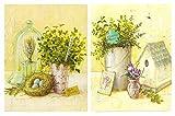 Cuadros Nido Florales Fondo Amarillo sobre Madera Set de 2 Unidades de 19 cm x 25 cm x 4 mm unid. Adhesivo FÁCIL COLGADO. Adorno Decorativo. Decoración Pared hogar
