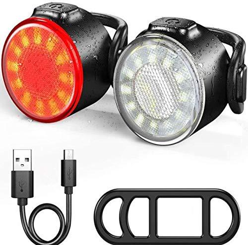 LED Fahrradlicht Set USB Wiederaufladbar, Trendyest wasserdichte Fahrradleuchten Set mit 6 Modi, Frontlicht Rücklicht Fahrradlampe Set 2 Stück