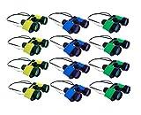 Plastic Kids Binoculars In Assorted Colors For Pretend Play - Party Favor Pack Of 12 Toy Binoculars