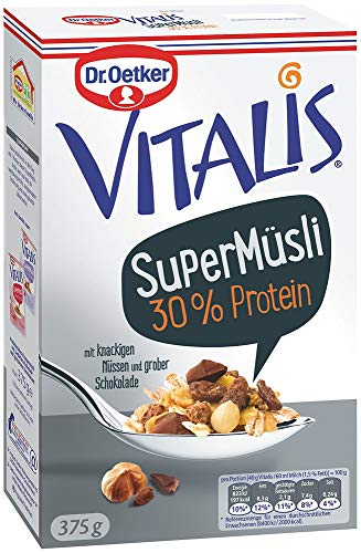 Dr. Oetker Vitalis SuperMüsli 30% Protein, Leckeres Müsli mit der Extra-Portion Protein, 8er Packung (8 x 375g)