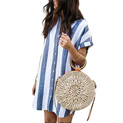Lamdoo Mujer Boho Camisa a Rayas con Estilo Vintage Vestido de Manga Corta Cuello Alto Botón Abajo Cuello en V Atractivo Irregular Dobladillo Curvo Blusa Suelta - Azul-L
