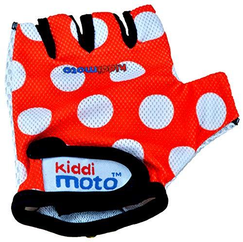 KIDDIMOTO Kinder Fahrradhandschuhe Fingerlose für Jungen und Mädchen/Fahrrad Handschuhe/Bike Kinder Handschuhe - Rote Punkte - S (2-5y)