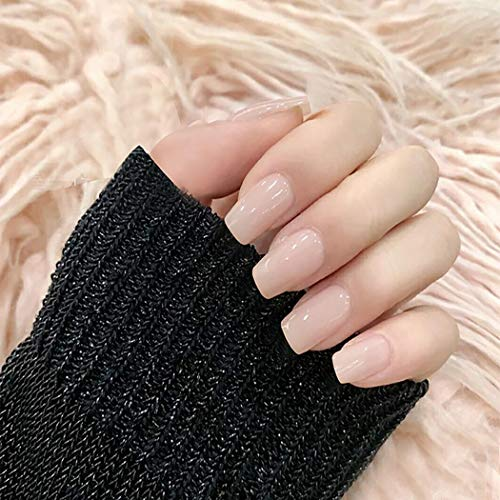 Earent Square Fake Nails Medium Glossy Press on Nails Artificial Pure Color Full Cover False Nail Tips for Women and Girls (24Pcs) (Nude Pink)