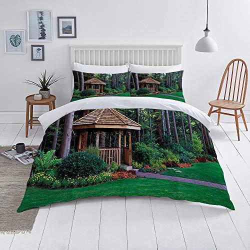 Queenker Juego de Funda nordica,Ropa de Cama,A Beautiful Backyard Garden with A Cedar Wood Gazebo,Microfibra,Edredon 200x200cm con 2 Fundas de Almohada 50x80cm
