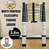3.8M 12.5pies extensión multiusos escalera telescópica de aluminio extensible pasos para casa?oficina