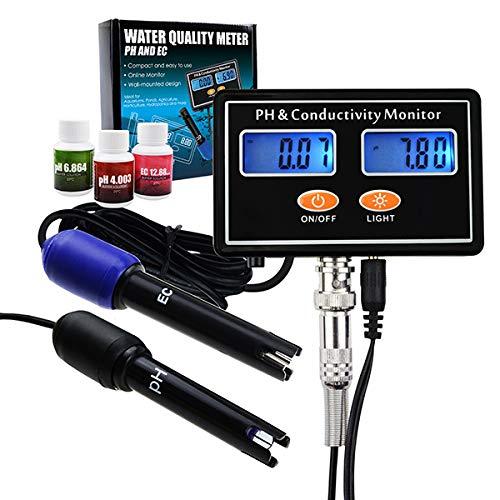 Online-PH & EC Leitfähigkeit Messgerät Tester ATC zu überwachen, Wasser in Echtzeit kontinuierliche Qualitätsüberwachung, Wand montierbar & wiederaufladbar, Aquakultur, Aquarium, Teich, Hydrokultur