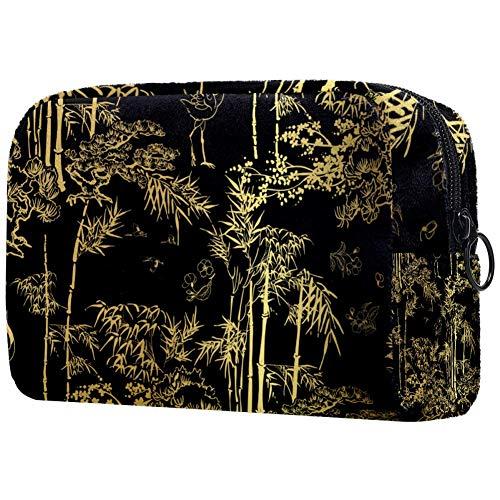 Bambou oiseau grue arbre noir motif portable Maquillage Sacs Imprimés Cosmétiques Sac Cosmétique Sac pour Femmes Voyage Cosmétique Sac
